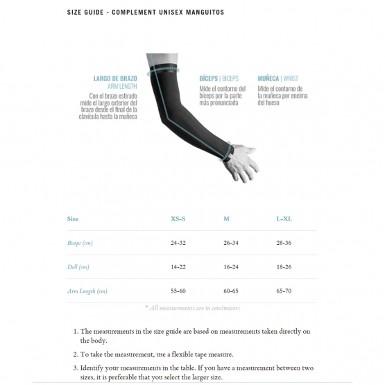 Arm warmers - size chart