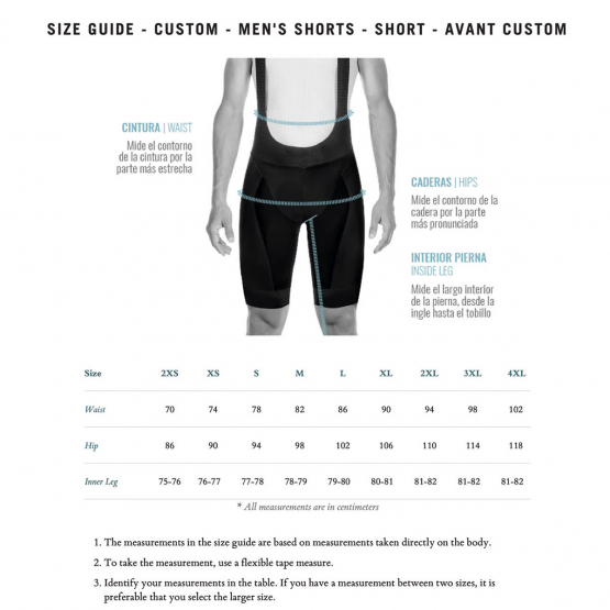 Avant bib shorts for men - size chart