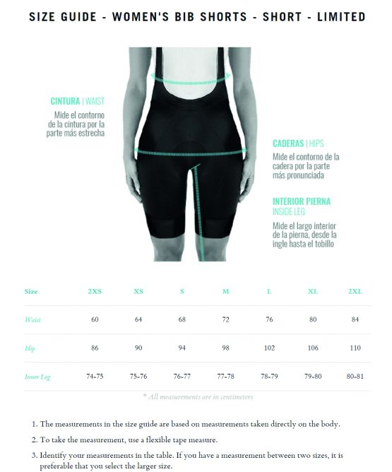 Limited shorts for women - size chart