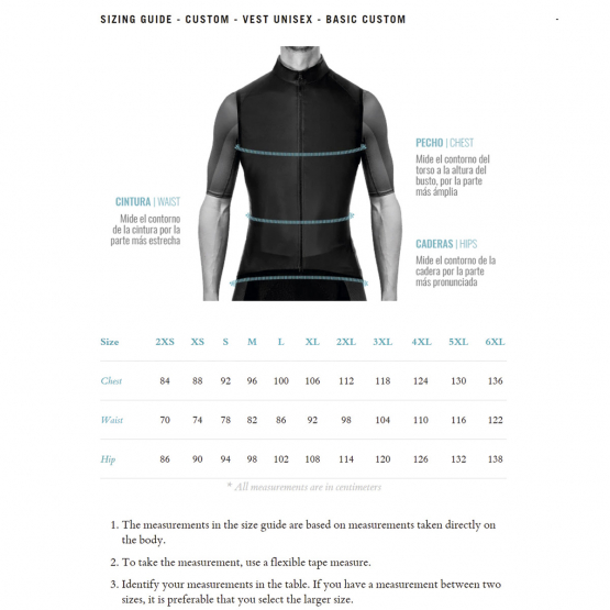 wind vest Unisex - size chart