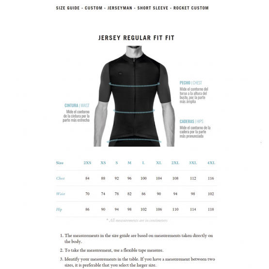 Rocket man jersey - size chart