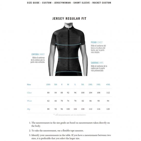 Rocket women jersey - size chart