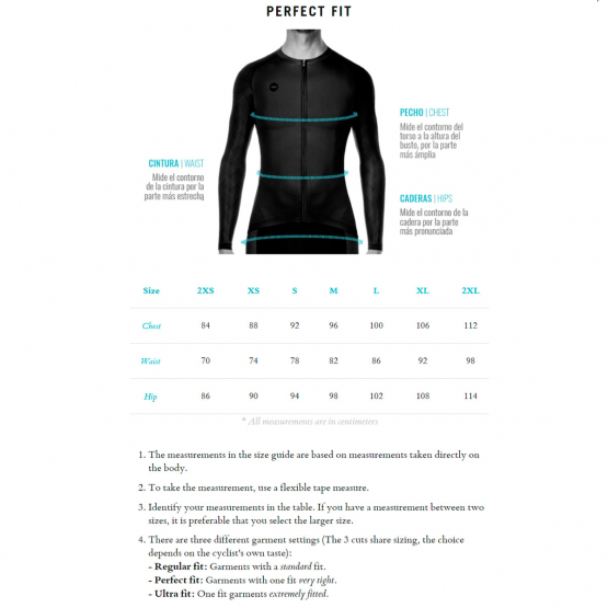 Size Chart - Pacer UNISEX long sleeve jersey